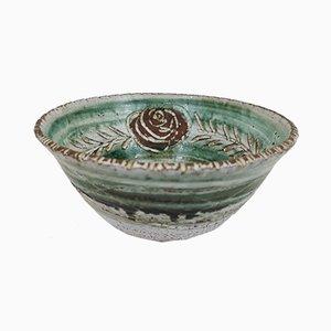 Cuenco de cerámica esmaltada con decoración floral de Albert Thiry en Vallauris, años 70