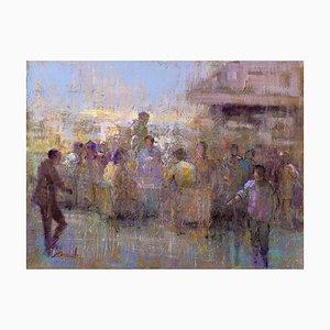 Renato Criscuolo, Al Bar di Capri, Öl auf Leinwand