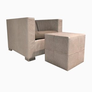 Vintage Italian Suitcase Armchair with Footstool by Rodolfo Dordoni for Minotti, Set of 2