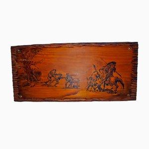 Zeichnung auf Holz von Don Quixote Auszug