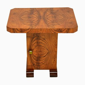 Art Deco Figured Walnut Occasional Coffee or Side Table