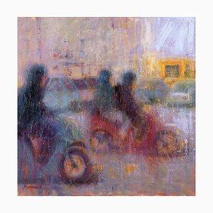 Renato Criscuolo, In Traffic, óleo sobre lienzo