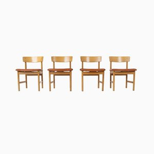 Model 3236 Dining Chairs by Børge Mogensen for Fredericia, Denmark, 1976, Set of 4