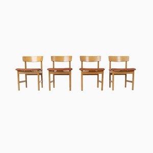 Modell 3236 Esszimmerstühle von Børge Mogensen für Fredericia, Dänemark, 1976, 4er Set