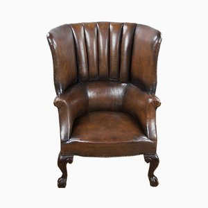 Antique Leather Barrel Back Porters Wing Chair, 19th Century
