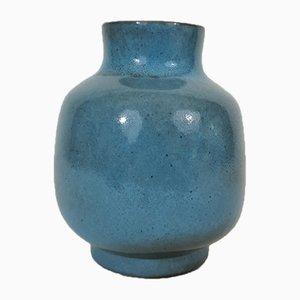 Blaue Emaille Vase von Jacques und Dani Ruelland, 1960er
