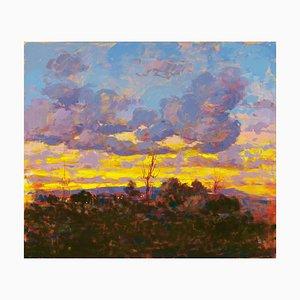 Renato Criscuolo, puesta de sol, óleo sobre lienzo