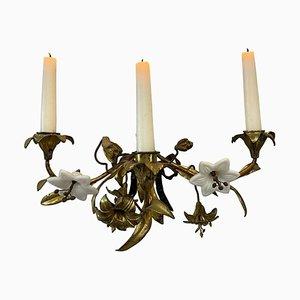 Vergoldeter Französischer Art Nouveau Kerzenhalter