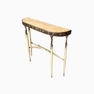Italienischer Mid-Century Konsolentisch mit Gelber Marmor Tischplatte & Messing Rahmen