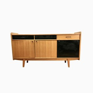 Black Laminated Beech Sideboard by Guermonprez, France, 1950s