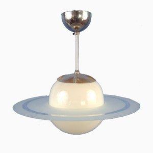 Schwedische Mid-Century Saturnus Glas Hängelampe, 1940er