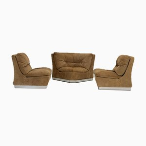 Armless Suede Leather Chairs, France, 1970s, Set of 3
