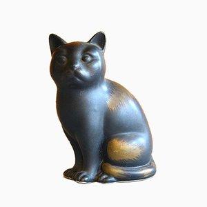 Gato de cerámica negra de Piero Fornasetti, Italy, años 50