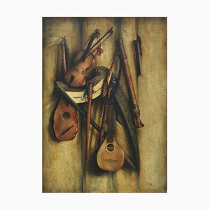 Still Life with Musical Instruments - Oil on Canvas - Francesca Strino
