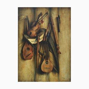 Stillleben mit Musikinstrumenten - Öl auf Leinwand - Francesca Strino
