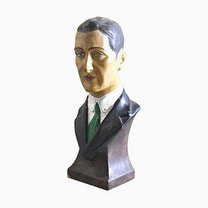 López, medio busto de hombre, papel maché, años 60