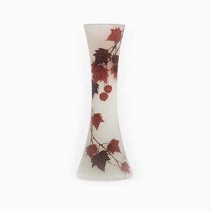 Tall Art Nouveau Hand-Painted Enamelled Glass Vase by Peynaud, 1915