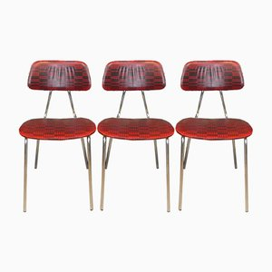 Red Checkered Chrome Kitchen Chairs, 1960s, Set of 3