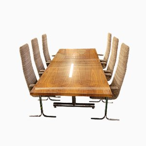 Table & Chairs by Tim Bates for Pieff, Set of 7