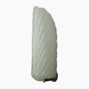Art Deco Feather-Shaped White Opaline Glass Wall Light