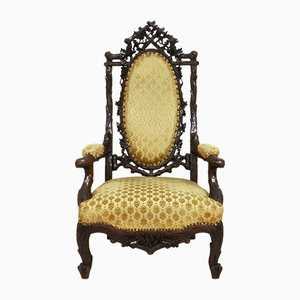 Dutch Black Forest Walnut & Velvet Armchair by Gebroeders Horrix