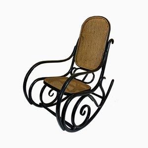 Rocking Chair Vintage en Bois Courbé Noir par Michael Thonet pour Thonet