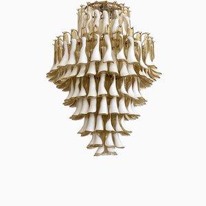 Mid-Century Round Ambra & White Murano Glass Chandelier, 1970s