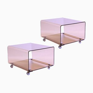 Transparent Plexiglass Trolley Side Tables by Michel Dumas for Roche Bobois, 1970s, Set of 2