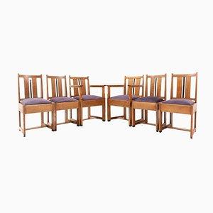 Art Deco Haagse School Oak Dining Room Chairs, 1920s, Set of 6