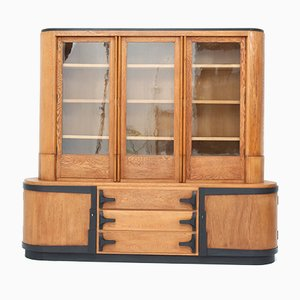 Art Deco Amsterdam School Oak 2-Piece Bookcase Attributed to C.J. Blaauw
