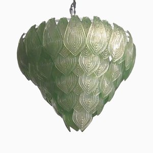 Italian Art Deco Green Murano Art Glass Chandelier, 1990s