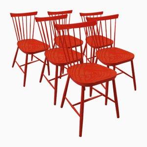 Rote Esszimmerstühle, 6er Set