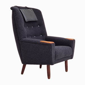 Danish Furniture Wool High Back Armchair, 1970s