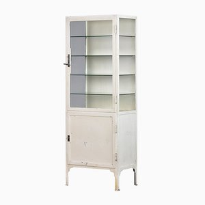 Medical Iron & Glass Cabinet, 1940s