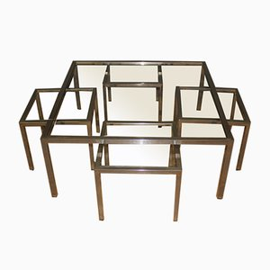 Coffee Table in Steel and Glass with Pull-Out