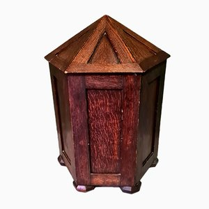Antike sechseckige Box aus Eiche mit Deckel