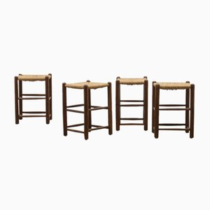 Charlotte Perriand Style Rush Stools, Set of 4