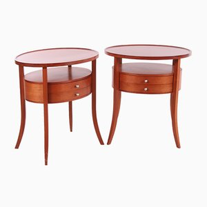 Vintage Italian Oval Cherrywood Bedside Table Set