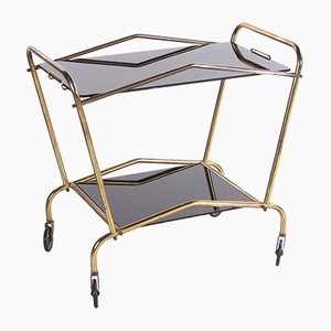 Vintage French Brass and Glass Serving Trolley