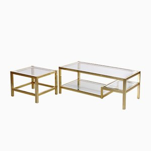 Vintage Hollywood Regency Coffee Table & Side Table, Set of 2