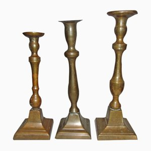 Pre-War Brass Candlesticks, Set of 3