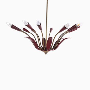 Mid-Century French Red Chandelier