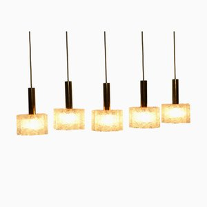Glass Tube Pendant Lamps from Doria Leuchten,1960s, Set of 5