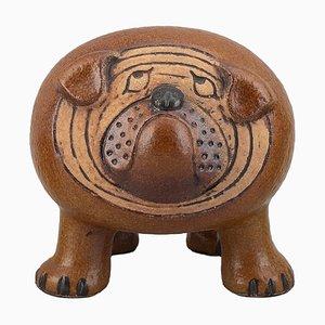 Maxi Bulldog de cerámica esmaltada de Lisa Larson para Gustavsberg, años 70