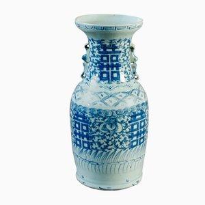 Jarrón chino en azul y blanco