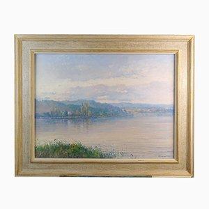 Vista en el lago de Banyoles - Manuel Pigem Ras - óleo sobre lienzo