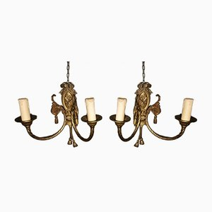 Antique French Louis XVI Style Gilt Bronze Wall Sconces, Set of 2