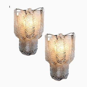 Large Italian Murano Glass Wall Sconces from Mazzega, Set of 2