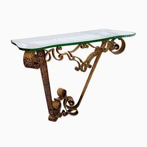 Table Console Vintage en Fer Forgé Doré & Cristal par Pier Luigi Colli
