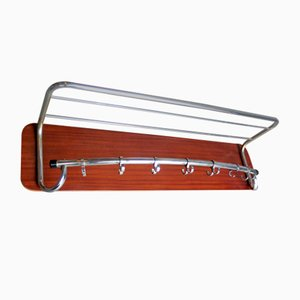 Chromed Metal and Wooden Board Coat Rack, 1950s